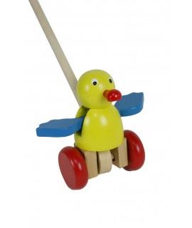 Arrastre de madera pájaro de color amarillo. Medidas totales: 12x6x10 cm.