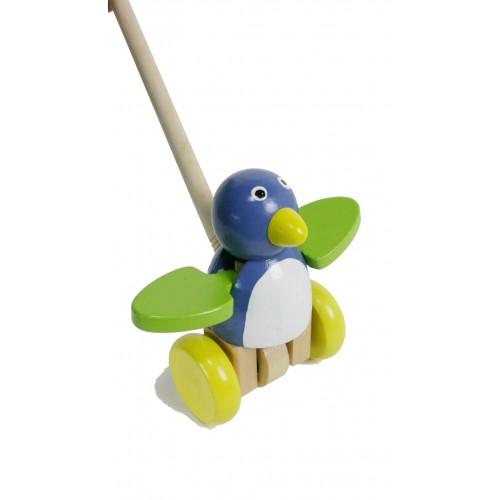 Arrastre de Madera Pájaro Azul/Verde