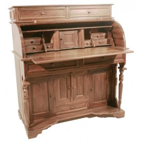 Grand bureau en bois de teck massif et style américain.