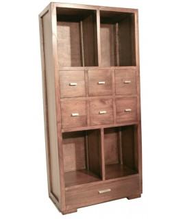 Librería estantería en madera de mindi con cajones. Medidas totales: 130x60x30 cm.