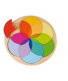 Trencaclosques rodó de mosaic en fusta multicolor