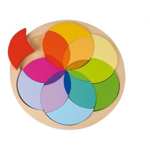Puzzle redondo de mosaico en madera multicolor