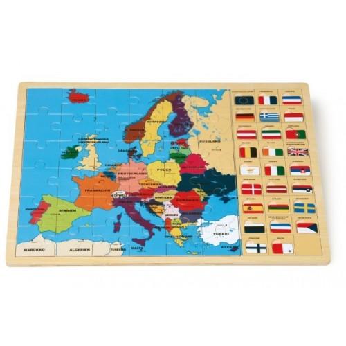 Puzzle Europa con Banderas de Madera