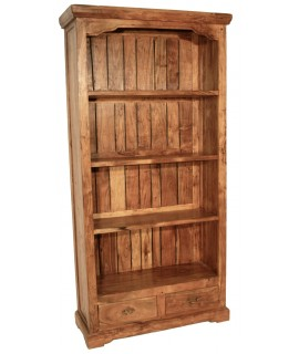 Bibliothèque rustique en bois d'acacia massif avec 4 étagères.