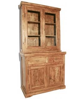 Vitrina de dos cuerpos en madera maciza de acacia estilo rustico