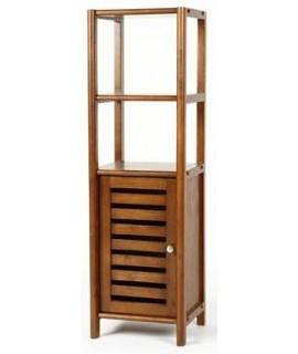 Estantería baja de madera con puerta inferior. Medidas totales: 116x35x32 cm.