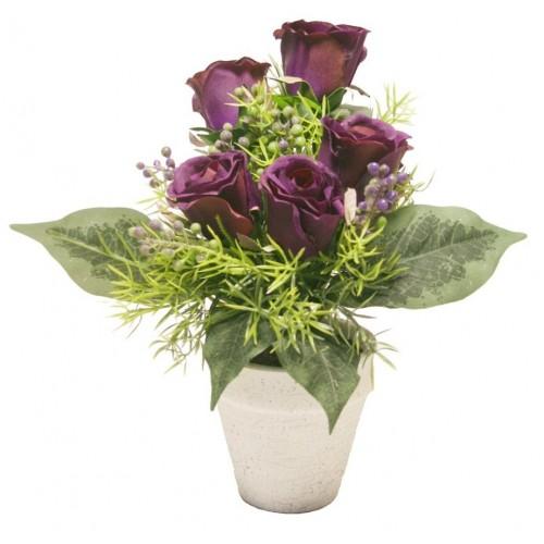 Maceta con Rosas color lila. Medidas: 27x17 cm.