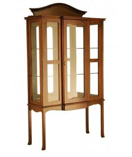 Vitrine en bois d'acajou massif avec étagères en verre et bois sculpté, meubles de grande qualité de style colonial