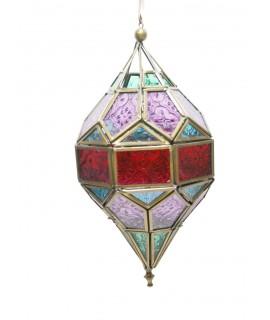 Fanal per penjar de vidre multicolor i metall amb suport per a vela