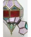Farol para colgar de vidrio multicolor y metal con soporte para vela
