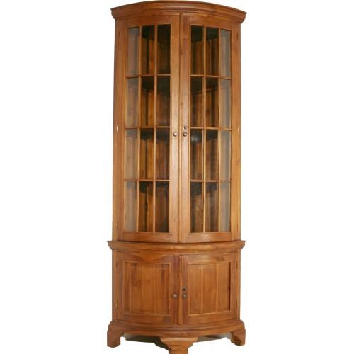 Vitrina para esquinera de madera de teca decoración rústica