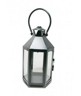 Farol porta velas de metal color negro con asa vintage