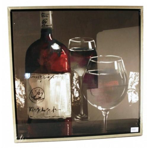 Cuadro pintado al óleo botella de vino