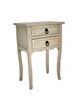 Mesita de noche o mueble auxiliar con dos cajones color blanco envejecido.Medidas: 68x46x31 cm.