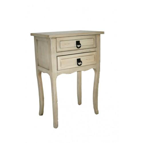 Mesita de noche o mueble auxiliar con dos cajones color blanco envejecido