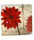 Cuadro al óleo pintado sobre tela con motivo flor roja