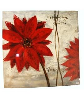 Peinture à l'huile peinte sur toile avec motif fleur rouge.