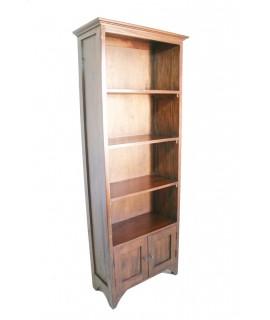 Librería-estantería estrecha de madera con puertas