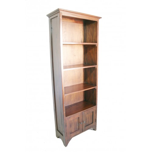Librero 4 estantes con puertas de madera maciza de caoba Estanteria estrecha bano