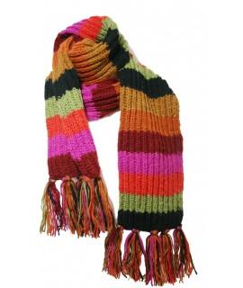 Bufanda de lana artesanal unisex de multicolor verde y lila para el frio invierno regalo original. Medidas: 220x19 cm.