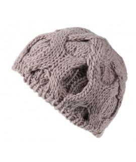 Chapeau d'hiver en acrylique écru et tresses de style nordique dessinant un cadeau idéal pour les femmes