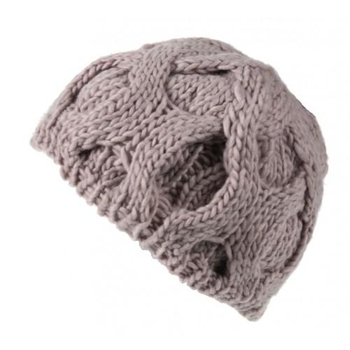 Gorro de invierno acrílico color crudo y dibujo trenzas estilo nórdico ideal regalo para mujer