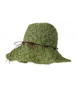 Barret d'estiu de ràfia color verd