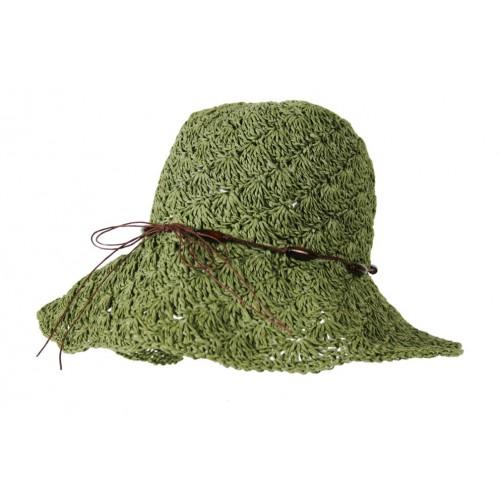 Sombrero de color verde y tejido de rafia para los días de primavera y verano Sombrero de calidad ideal para realizar regalo