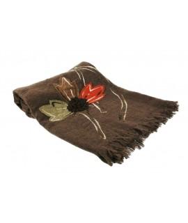 Blanket Brown avec de la broderie