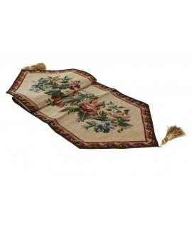 Chemin de table à motifs marron classique. Mesures: 230x33 cm.