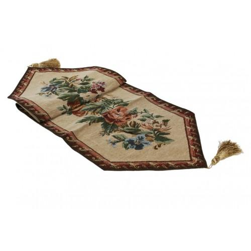 Camino de mesa clásico estampado color marrón. Medidas: 230x33 cm.