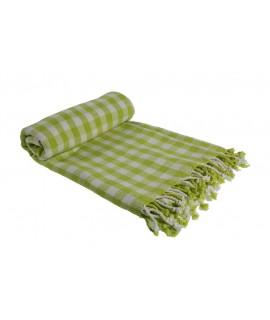 Manta para sofá y cama color verde con flecos dibujo cuadros