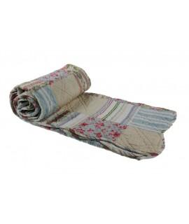 Manta acolchada decorativa para sofá y cama color azul rosa reversible. Medidas: 150x150 cm.