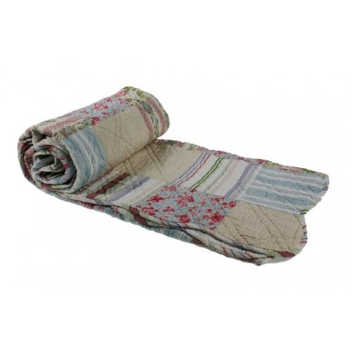 Manta acolchada decorativa para sofá y cama color azul rosa reversible