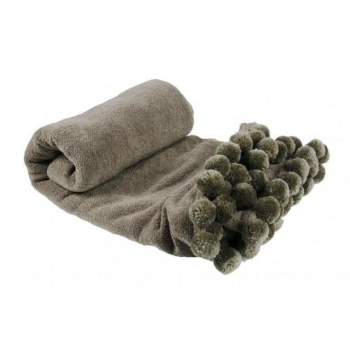 Manta con pompones color gris