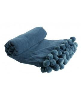 Manta Color Azul con Fleco Pompones