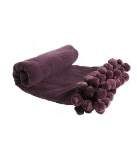 Manta Color Violeta con Fleco Pompones