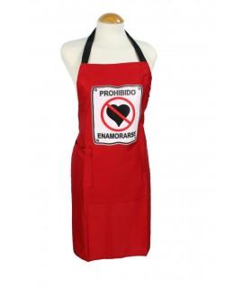 Delantal para cocina con peto anagrama prohibido enamorarse color rojo