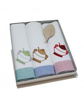 Paño de cocina blanco con dibujo para tarea de limpieza de utensilios