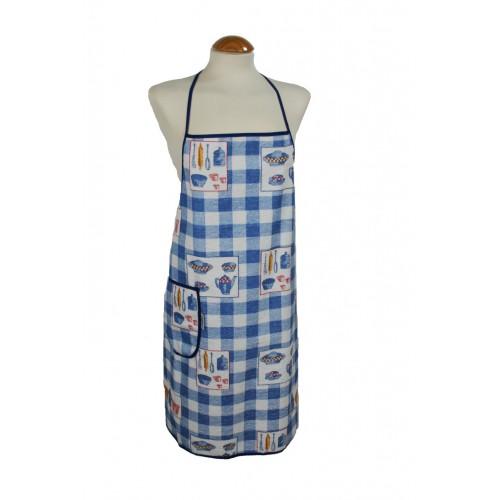 Delantal para cocina con peto estilo clásico de rizo pvc color azul