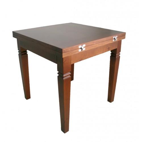 Mesa comedor de madera maciza extensible de color avellana