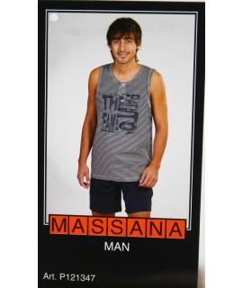 Pyjama d'été homme Massana short bleu marine