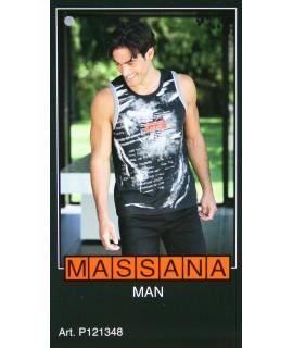 Pyjama d'été homme Massana short imprimé noir