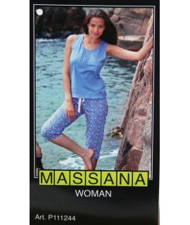 Pijama de dona Massana estiu tres peces color blau. talla XL