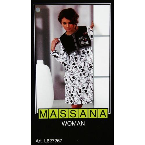 Pijama casmisola de mujer Massana invierno color blanco negro. Talla S