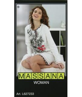 Pijama casmisola de dona Massana hivern color blanc negre Talla S