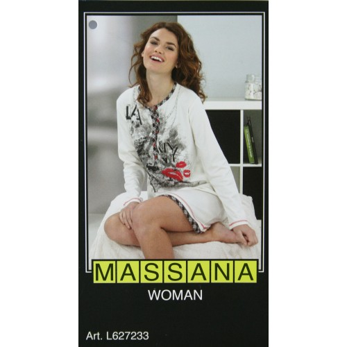 Pijama casmisola de mujer Massana invierno color blanco negro Talla S