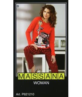 Pyjama d'hiver femme Massana en imprimé rouge taille S