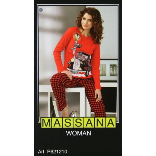 Pijama de mujer Massana invierno color estampado rojoTalla S