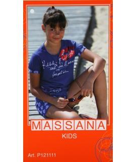 Pijama de niña Massana verano pantalón corto color azulado con dibujo talla 12
